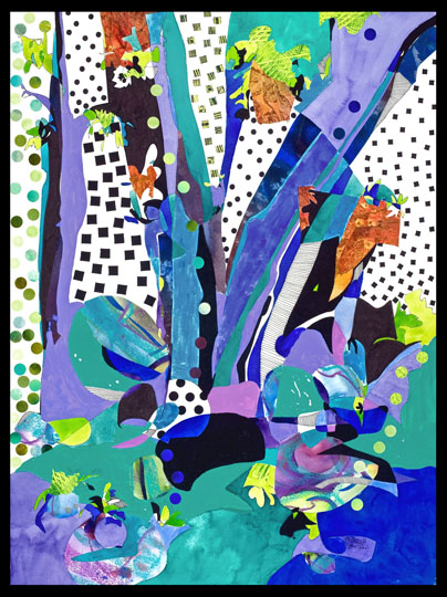 Blue Trees, mixed media work by Deanna Thibault