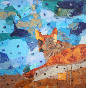 Coyote on the Rocks, Mixed Media Art by Deanna Thibault